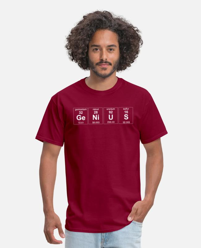 Periodic Table T-Shirts - Genius Element - Men's T-Shirt burgundy