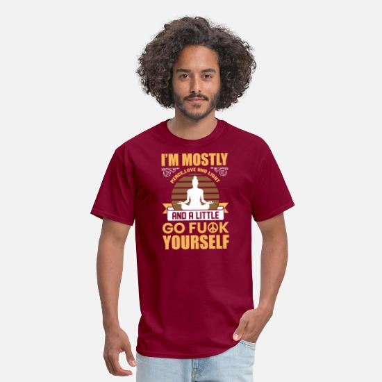 Fuck T-Shirts - I M MOSTLY Pease - Men's T-Shirt burgundy