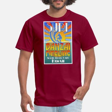 Oahu Hawaii Beach Banzai Pipeline, North Shore, Oahu, Art Deco Style - Men's T-Shirt