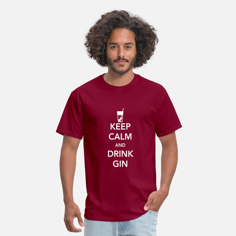 Drinks Gin T-Shirts - Keep Calm and Drink Gin - Men's T-Shirt burgundy