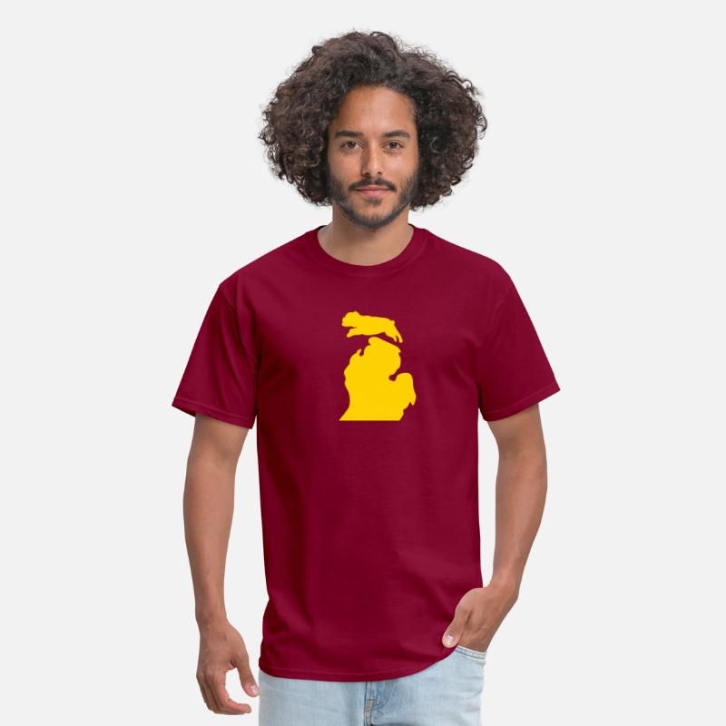 Michigan T-Shirts - Bark Michigan Bulldog - Ferris State Colors - Men's T-Shirt burgundy