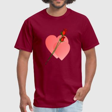 Two Hearts Two Roses  Two Hearts - Men's T-Shirt