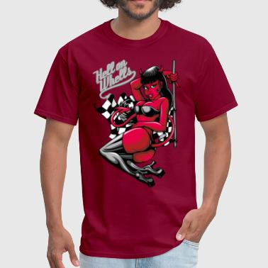 Devil Pin-Up Girl - Hell on Wheels - Men's T-Shirt