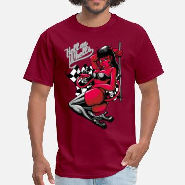 Hot Rod Devil Pin-Up Girl - Hell on Wheels - Men's T-Shirt