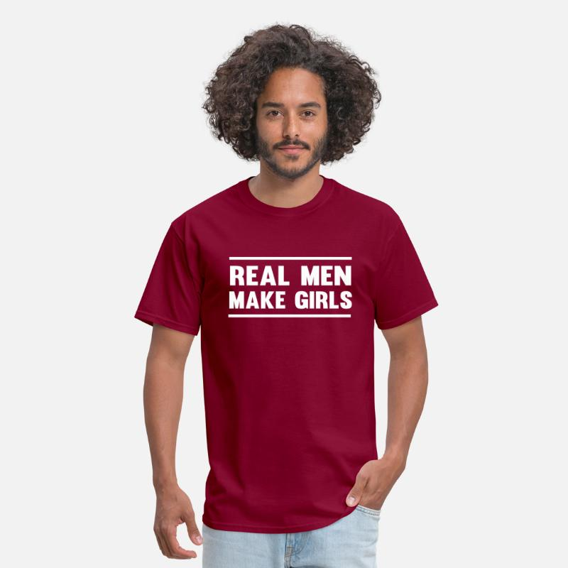 Baby Shower T-Shirts - Real Men Make Girls - Men's T-Shirt burgundy