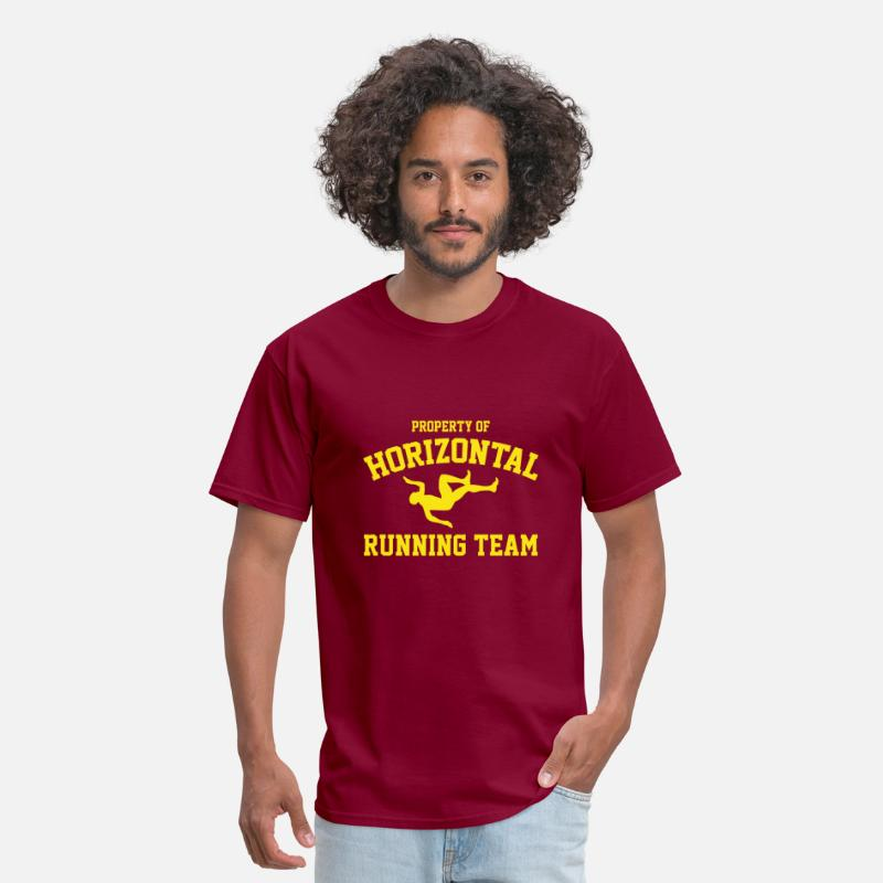 Funny T-Shirts - Property Of Horizontal Running Team - Men's T-Shirt burgundy