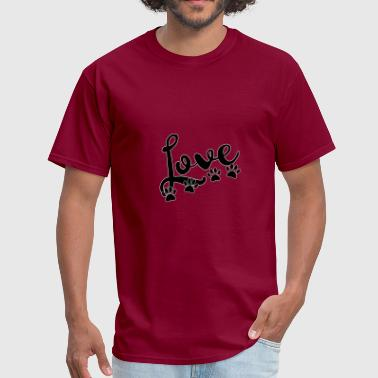 love typography with 4 dog paw prints - Men's T-Shirt