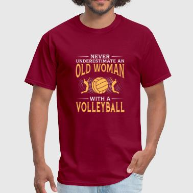 funny An Old Woman With A Volleyball - Men's T-Shirt