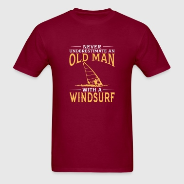 funny An Old Man With A Windsurf - Men's T-Shirt