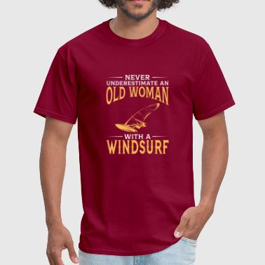 funny An Old Woman With A Windsurf - Men's T-Shirt