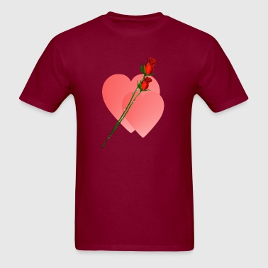 Two Roses  Two Hearts - Men's T-Shirt