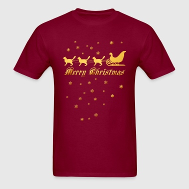 Gold Christmas Kitties - Men's T-Shirt