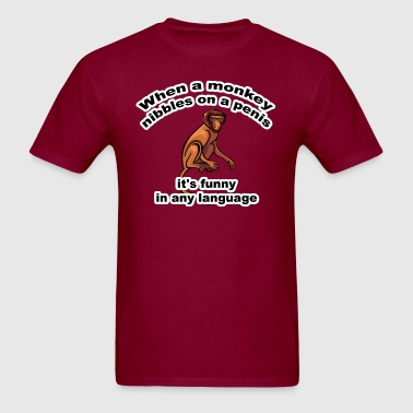 When a Monkey Nibbles (NSFW) - Men's T-Shirt