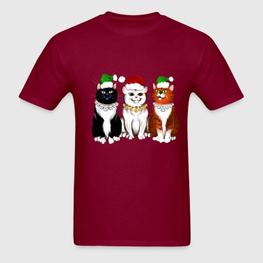 Three Christmas Kitties - Men's T-Shirt
