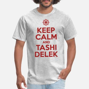 Nepal Keep Calm and Tashi Delek Tibet Dharma Wheel - Men's T-Shirt