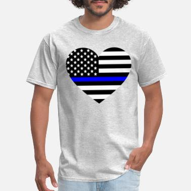 Thin Blue Line Love Thin blue line Heart Police Support - Men's T-Shirt