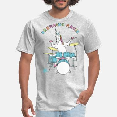 Drumming Drumming Magic Unicorn outline - Men's T-Shirt