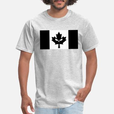 Canadian Flag Black Black Canadian Skull Flag - Men's T-Shirt