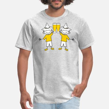 Funny Usa Party team couple 2 friends duo party drinking beer drin - Men's T-Shirt