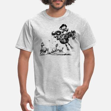 Thelwell Thelwell Horseman Taming Wild Horse - Men's T-Shirt