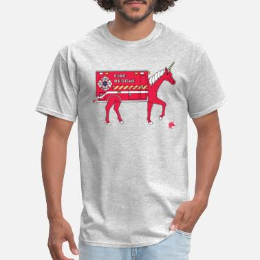Funny Fireman Fire Rescue Unicorn - Men's T-Shirt
