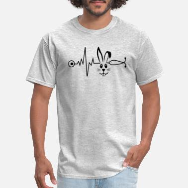 Blow Out Bunny with heartbeat nurse Rabbit Face Gift - Men's T-Shirt