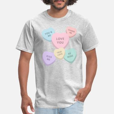 Stupid Lesbian candy hearts large - Men's T-Shirt