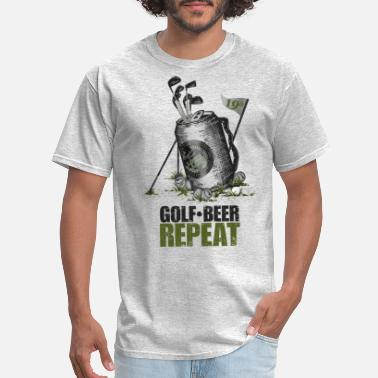 Caddy Golf Beer Repeat - Men's T-Shirt