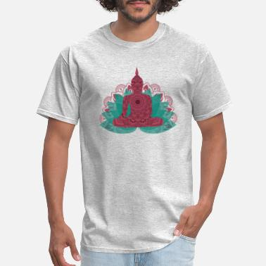 Namaste Buddha on Lotus Mandala | Spiritual Om New Age - Men's T-Shirt