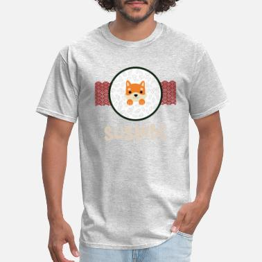 Pointing Cute Anime Fox in Sushibe Rice Bowl in Japanese - Men's T-Shirt