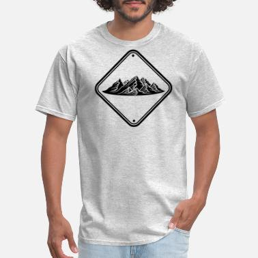 Snowboard Vacation zone note caution danger shield caution mountains - Men's T-Shirt
