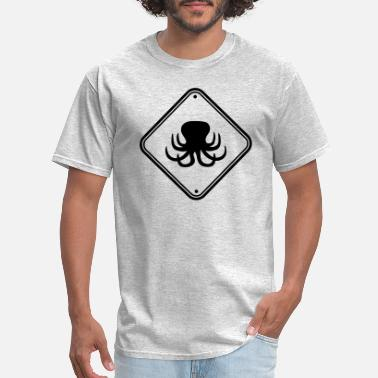 Funny Cool Fishing warning shield caution note zone danger caution si - Men's T-Shirt
