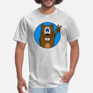 Victory Column Beaver cute funny cute happy victory wood dam wate - Men's T-Shirt