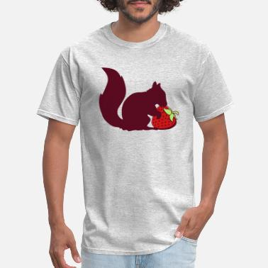 Squirrely strawberry eat hunger delicious fruit black squirr - Men's T-Shirt