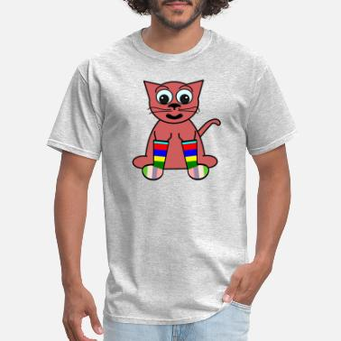 Dot Com FunDraw dot com Cartoon Cat In Rainbow Socks 2400p - Men's T-Shirt