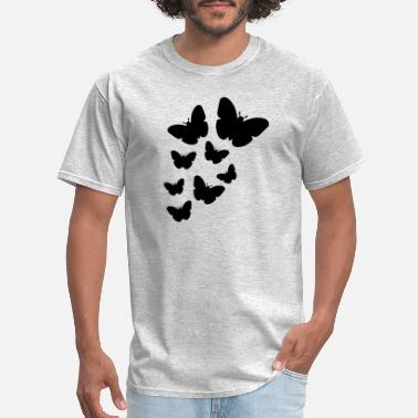 Fly Insect many butterflies pattern silhouette insect wings f - Men's T-Shirt