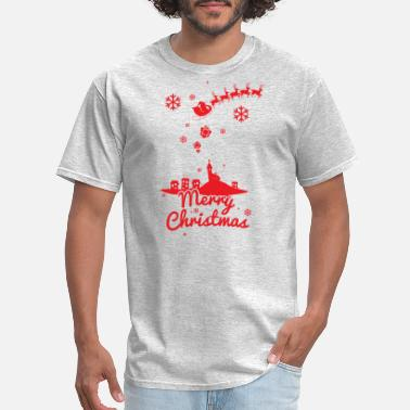 Merry Christmas Merry christmas, a scene of a small village - Men's T-Shirt