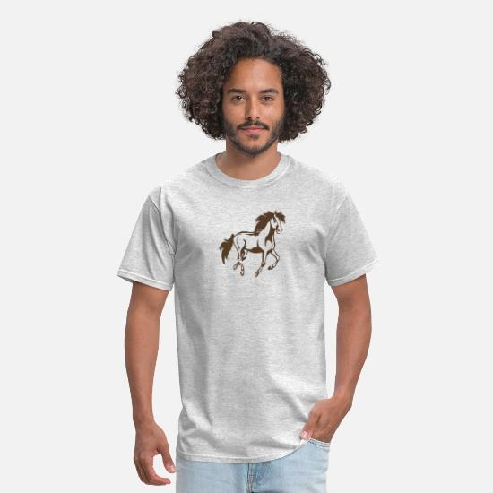 Horseshoe T-Shirts - Wild Horse Running funny tshirt - Men's T-Shirt heather gray