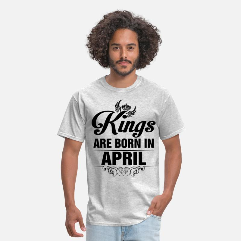 April T-Shirts - Kings Are Born In April Tshirt - Men's T-Shirt heather gray