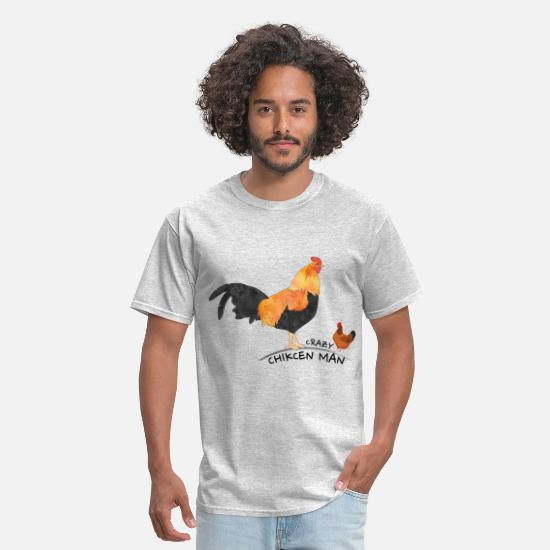 Chicken T-Shirts - Crazy chicken Man - Men's T-Shirt heather gray