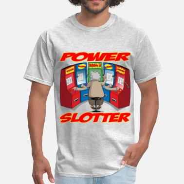 Vegaslowroller THE POWER SLOTTER WITH TEXT - Men's T-Shirt