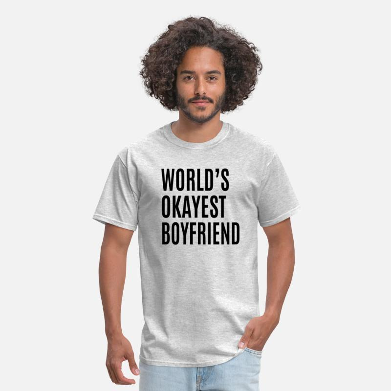 Couples T-Shirts - Okayest Boyfriend - Men's T-Shirt heather gray