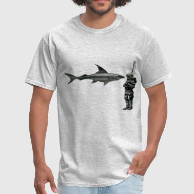 Vintage 19th Century Helmet Diver and Shark - Men's T-Shirt