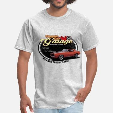 1969 Camaro Classic Car Garage with Orange Camaro - Men's T-Shirt