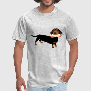 Hot-dog Hot-Dog Eating Dachshund - Men's T-Shirt