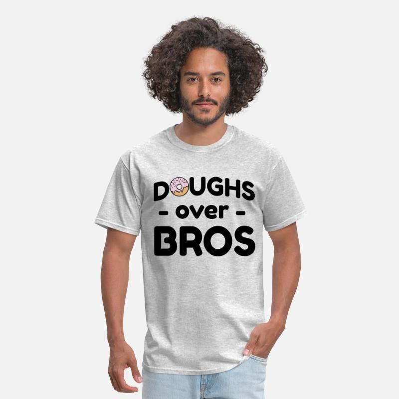 Donuts T-Shirts - Doughs over bros - Men's T-Shirt heather gray