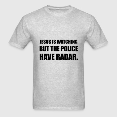Jesus Watching Police - Men's T-Shirt