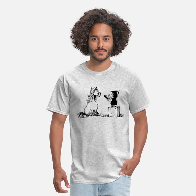 Teacher T-Shirts - Thelwell Pony Learning At School Teacher - Men's T-Shirt heather gray