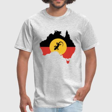 Aboriginal Flag Australian Aboriginal Flag and Lizard - Men's T-Shirt