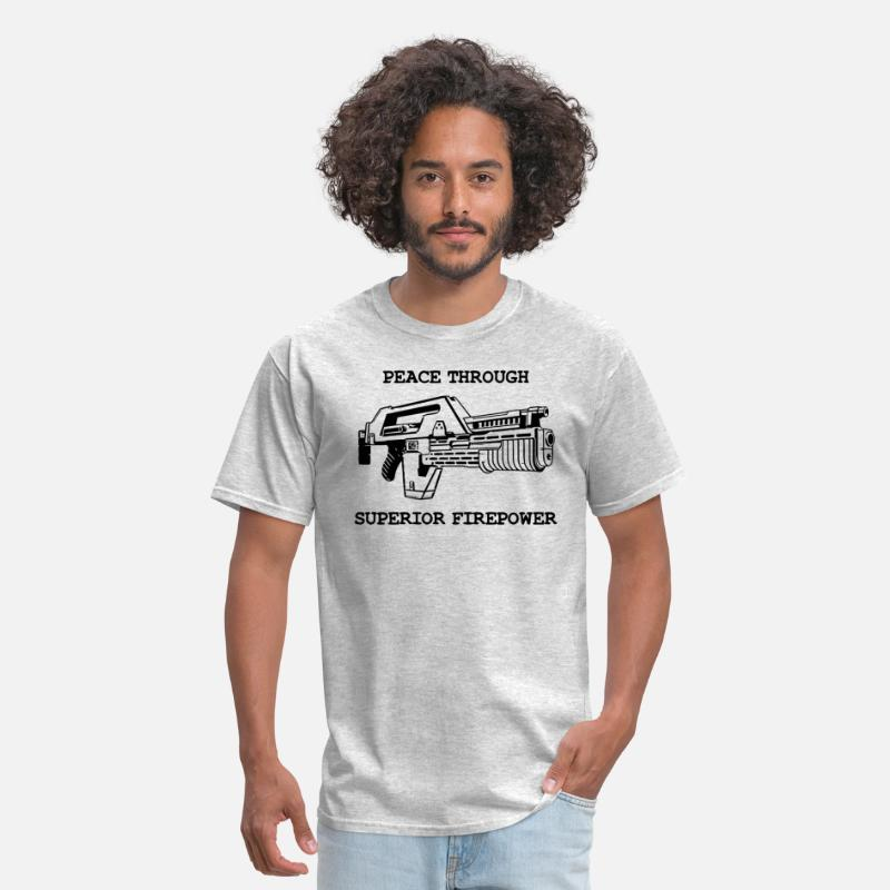 Funny T-Shirts - Peace Through Superior Firepower - Men's T-Shirt heather gray